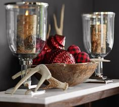 :: I LOVE dough bowl and how to display extra ornaments   Red Buffalo Check Ball Ornament   Pottery Barn ::