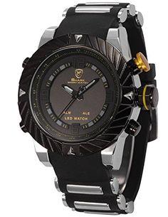 Shark Herren Armbanduhr Dual LED Digital Quarzuhr Schwarze Armband aus Gummi Sport SH168 - http://herrentaschenkaufen.de/shark/shark-herren-armbanduhr-dual-led-digital-armband-2