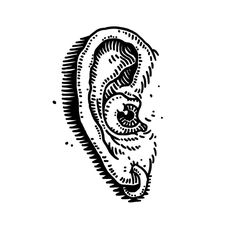 Ear. — tattoo, tattoos, inspiration, woodcut, illustration — Daily Black & White Illustration
