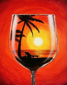 Winey Art combines art instruction and wine drinking. We provide everything needed to create your own paining: the aprons, easels, paint, brushes and canvas. Wine Painting, Back Painting, Summer Painting, Easy Paintings, Watercolor Paintings, Wine And Canvas, Wine Art, Pictures To Paint, Beach Pictures