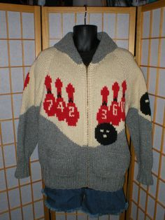 vintage 50s hand knit bowling motif cardigan sweater by antique, $129.00