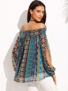 Shop Multicolor Print Off The Shoulder Split Sleeve Blouse online. SheIn  offers Multicolor Print Off eab74d2f1e