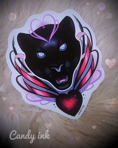 #neo #traditional #girly #tattoo #design #dark #black #panther #ribbonbow #heart #digital