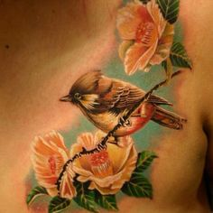 Bird and flowers #TattooModels #tattoo