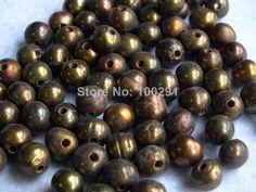 Free shipping!!! 2mm Big Hole, 9-10mm Brown Freshwater Potato Pearl 1000pcs/lot MN-1954 $145.33