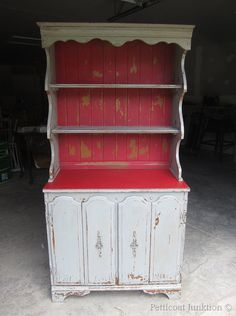 This piece looks like it was straight out of an old farm house just waiting to be loved :) painted furniture using Miss Mustard Seed's Milk Paint, Petticoat Junktion Milk Paint Furniture, Furniture Projects, Kitchen Furniture, Furniture Makeover, Painted Furniture, Diy Furniture, Refinished Furniture, Antique Furniture, Primitive Furniture
