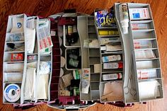 Use a large tackle box to organize 1st aid supplies.