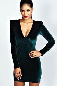 Kate Velvet Plunge Neck Bodycon Dress