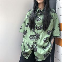 Vintage Print Blouse Short Sleeve Women Shirt Korean Fashion Casual Loose Street Shirts · Triple L · Online Store Powered by Storenvy Edgy Outfits, Grunge Outfits, Fashion Outfits, Sport Outfits, Fashion Fashion, Fashion Tips, Mode Ulzzang, Vetement Fashion, Mein Style