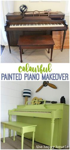 Give your old dated piano a fresh cheery look with a colourful painted piano makeover using homemade chalky paint