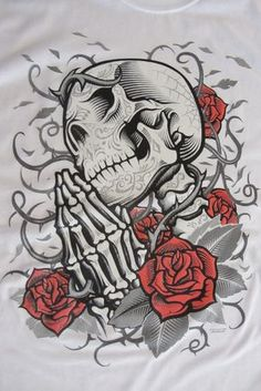 This Praying Skull is one of the Day of the Dead items that we carry. Amazing detail with the grey doodles and the bright vivid red roses. Great choice for both skull and tattoo fans. - 5.3 oz - preshrunk 100% heavy duty cotton tees - Screen Printed Image - Unisex sizes - T-shirt Size Chart - Available in Black, Grey or White - Ships in 1 to 2 working days