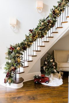 Frontgate Garland and old fashioned red truck with miniature Christmas tree. Diy Christmas Decorations, Christmas Stairs Decorations, Holiday Decor, Christmas Staircase Garland, Decorating Banisters For Christmas, Luxury Christmas Decor, Best Outdoor Christmas Decorations, Staircase Decoration, Christmas Garden