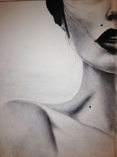 great charcoal drawing cool framing of a specific portion -failed realism with the shape of the neck More
