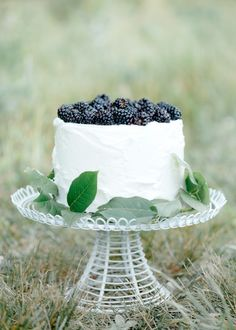 Blackberry wedding cake  Sister, you could do a bunch of different cakes on different height stands, and have them all be different flavors. We could even make them ourselves! Something to consider...