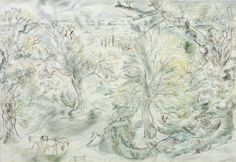 David Jones (1895‑1974), View from Gatwick House, Essex, April, 1946,Graphite, watercolour and chalk on paper