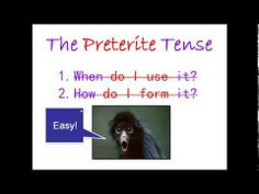 WeLoveFernando - Spanish Preterite Tense Regulars - What do you do with a surprised monkey? Spanish Class, Teaching Spanish, Preterite Spanish, Grammar Review, Monkey, School, Youtube, Spanish Classroom, Jumpsuit