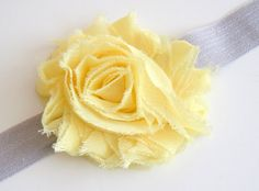 Yellow Shabby Chic Chiffon Flower on a Gray by kdbuggieboutique, $4.00