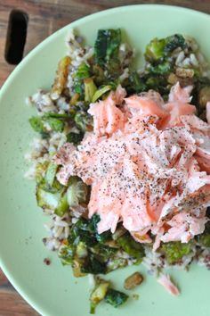 Baked salmon over Carmelized Brussel sprouts + brown rice sounds delicious and healthy