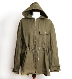Vintage 1970's Military Green Canvas Parka.
