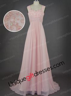 Pink A-line/Princess Sweetheart Straps Sweep Train Chiffon Bridesmaid Dresses With lace Sequins