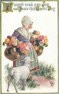 I WOULD SEND YOU JOY AND PEACE THIS EASTER DAY  girl carrying pots of tulips, lamb stands