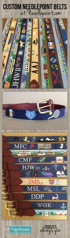 Here are some pictures of Custom Needlepoint Belts from our workshop taken over the holiday season.   We'd love to help you design the belt of your dreams or make an amazing gift that be talked about where ever it is worn.  www.NeedlePaint.com  #NeedlepointBelts