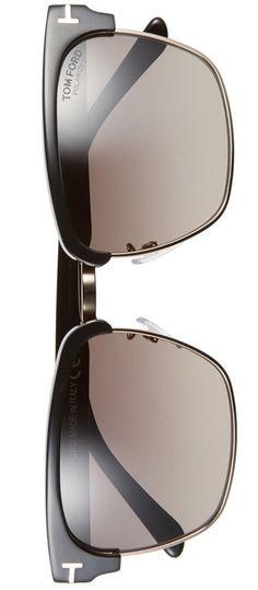 75359c5ea5c Tom Ford  River  57mm Polarized Sunglasses Shiny Black Gold Smoke Tom Ford