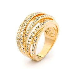Spiral Statement Ring Gold Plated with Swarovski® Crystals