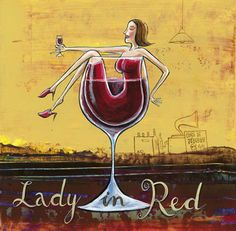 Lady in Red - Wine Prints