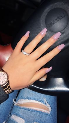 Taupe coffin acrylic nails