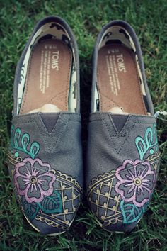 Womens - Floral Lace Grey Henna Custom TOMS Shoes
