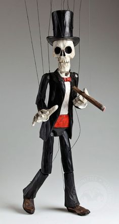 This skeleton Czech marionette is quite a character! Gentleman in any situation. Absolutely unique wooden hand carved masterpiece from Prague. Marionette Puppet, Puppets, Best Bourbons, Punch And Judy, Man Character, Creepy Dolls, Wooden Hand, Stop Motion, Figurative Art
