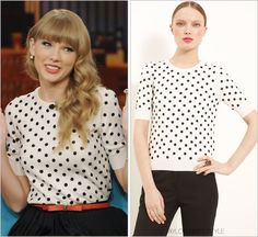 The View | October 24, 2012 Oscar de la Renta 'Polka Dot Short Sleeve Sweater' - $2233.40 (CAD) You gotta love promotion week. Taylor is just about everywhere! Worn with: Pearl Collective bracelets...