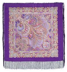 Wool Russian Pavlovo Posad Shawl Scarf 89x89cm with silk fringe