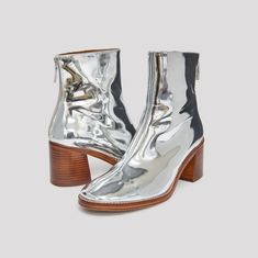 CYBIL SILVER LEATHER BOOTS by Miista