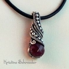 Theodora 2 Slide Pendant in Sterling Silver and Ruby, $225.00 | Kristine Schroeder Studio