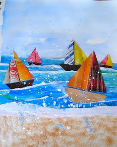 Sail boat collage: paper-making; squeegie; pattern; geometric shape; collage; watercolor; acrylic; foreground; middle ground; background; composition; scale  http://kids-finelines.blogspot.com/2011/08/pacific-coast-regatta.html