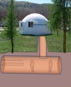 Underground Shelter. This website has tons of different shelter options along with suggestions on fuel tanks, solar power, water tanks... Lots of info. A must for how to survive in an emergency. #DIYSolarWater