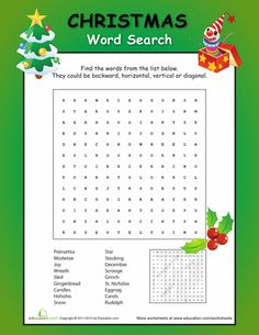 Worksheets: Christmas Fun: Word Search 3rd grade More