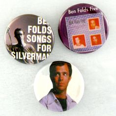 Ben Folds Five Pins 3 Original BFF Songs For Silverman Badges 90s Indie Band Buttons by JeepsterVintage on Etsy