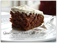 also known as Wacky Cake, Depression Cake, Vinegar and Oil Cake, Happy Valley Cake and Dump Cake.  This super moist and delicious cake has no eggs, milk or butter.  You don't even need a bowl!  This recipe was born during the Great Depression, when people had to be creative during hard times.