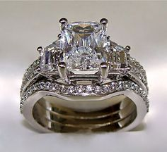 Radiant cut diamond #Tacori ring, solid gold wedding bands. - Style Estate -
