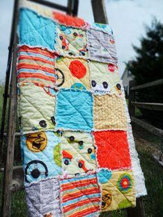 Rag Quilt Baby Boy Peak Hour Crib by littlebucksanddoes, $104.00