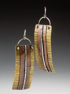 Large Mixed Metal Earrings Long by MicheleGradyDesigns on Etsy $65.00