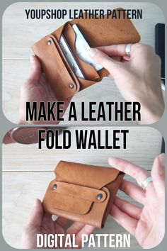 Diy Leather Wallet Pattern, Leather Card Wallet, Leather Pattern, Stitching Leather, Leather Tooling, Leather Accessories, Leather Shoes, Simple Wallet, Leather Workshop