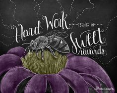 Chalkboard sign motivational quote spring flowers por TheWhiteLime