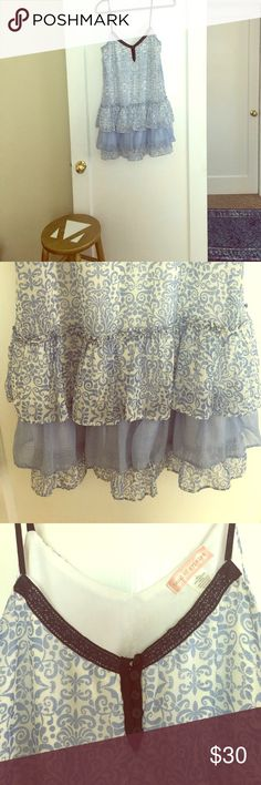 Blue ruffled dress Blue and white dress size L from Band of Gypsies by Urban Outfitters. This cute blue dress will turn heads and looks great on any body shape. Band of Gypsies Dresses Mini