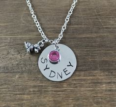 Personalized Dog Necklace - Handstamped Name, Puppy, Birthstone Necklace - Swarovski Crystal - Girl Necklace - Dog Lover Necklace by SunflowerShadows on Etsy