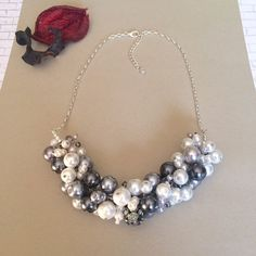 Pearl Cluster Necklace Chunky Pearl Necklace by BarbsBeadedJewelry