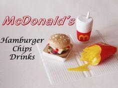 McDonald's ▪ Hamburger ▪ Chips ▪ Drink - Clay Miniature Tutorial